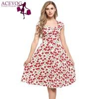 ACEVOG Women Vintage Swing Dress Lady Summer Styles Fruit Print V Neck Cap Sleeve A Line