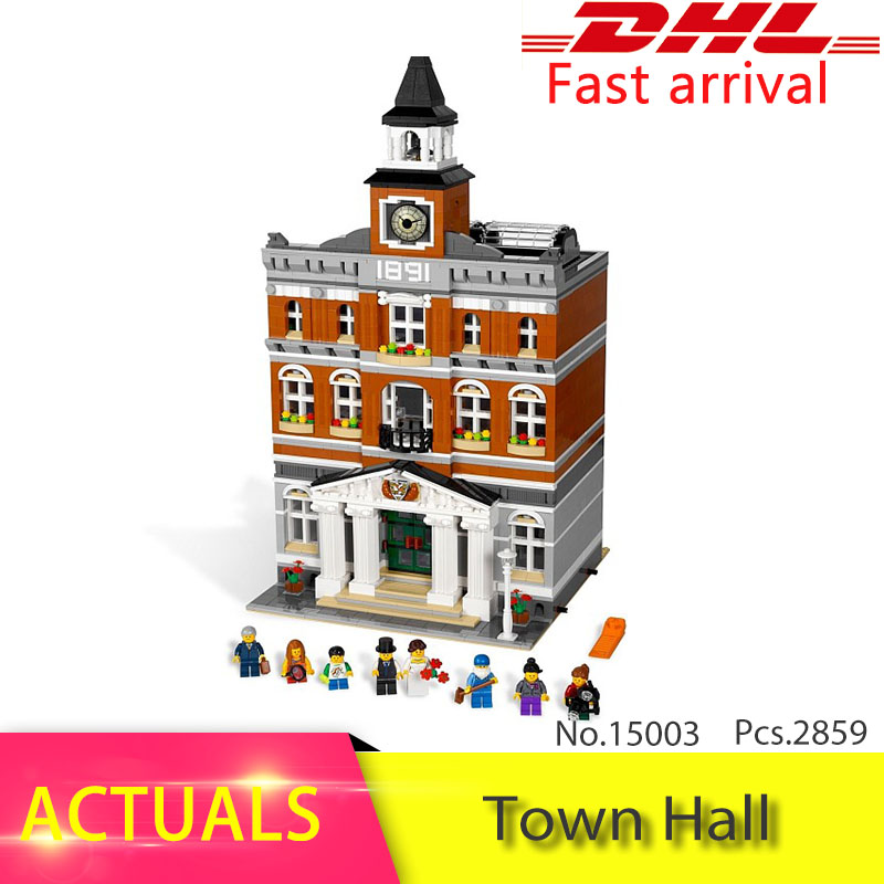 Lepin 15003 2859Pcs CREATOR series Town Hall  Model Building Blocks Set  Bricks Toys For Educational Children day Gift 10224 lepin 15003 2859pcs city creator town hall sets model building kits set blocks toys for children compatible with 10024