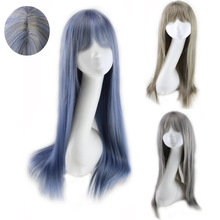 Cheap Synthetic Long Straight Wig With Bangs Simulated Scalp Harajuku Lolita Hair Blue Grey Cosplay Wigs For Women
