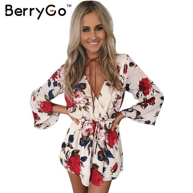BerryGo Boho цветочные элегантный комбинезон комбинезон Женщины лето сексуальная v шеи one piece playsuit Пляж пояса белый шифон комбинезоны