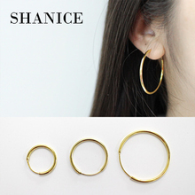 ФОТО shanice all-match korean 925 sterling silver fashion personality chic style minimalist gold circle hoop earrings women jewelry