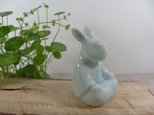 ceramic Zen meditation rabbit home decor craft room decoration Bunnies ornament porcelain animal figurines office decorations