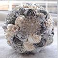 Envío libre hecho a mano broche de novia de la boda ramos de flores artificiales ramo de la flor con el diamante de la perla con cuentas de orange crema satinado