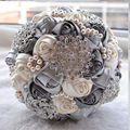 Free Shipping Handmade Brooch Bridal Wedding Bouquets Artificial Flower with Diamond Pearl Beaded Orange Cream Satin Bouquet