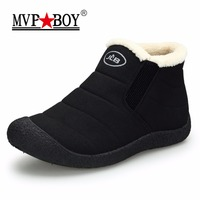 MVP BOY Waterproof Men Winter Shoes Couple Unisex Snow Boots Warm Fur Inside Non Slip Bottom
