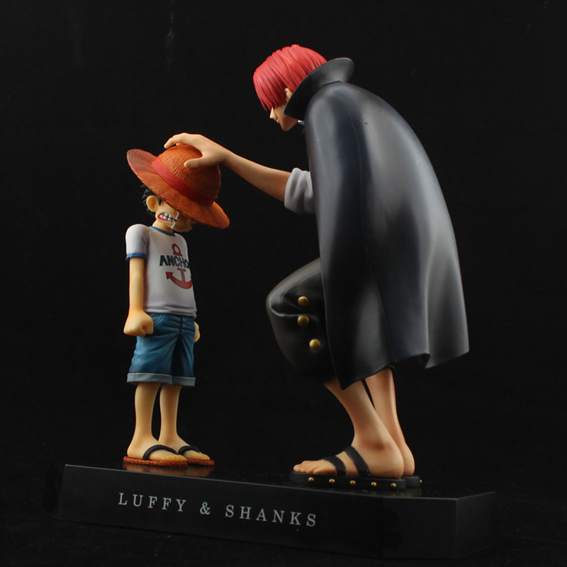 17.5cm One Piece action figures Anime Straw Hat Kry Luffy Shanks red hair ornaments gift toys child luffy models pvc collection