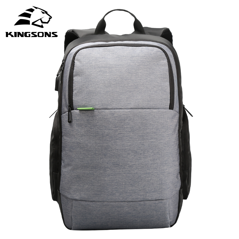 Kingsons Brand External USB Charge Women Laptop Backpack Anti-theft Solid Color Notebook Women Computer Bag 15.6 inch KS3143W kingsons external charging usb function school backpack anti theft boy s girl s dayback women travel bag 15 6 inch 2017 new