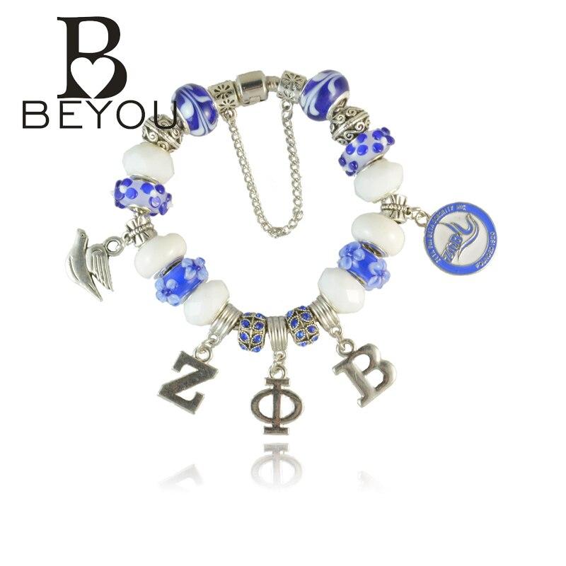 Newest ZETA PHI BETA Sorority Bracelet ZPB charm bead bracelet bangle