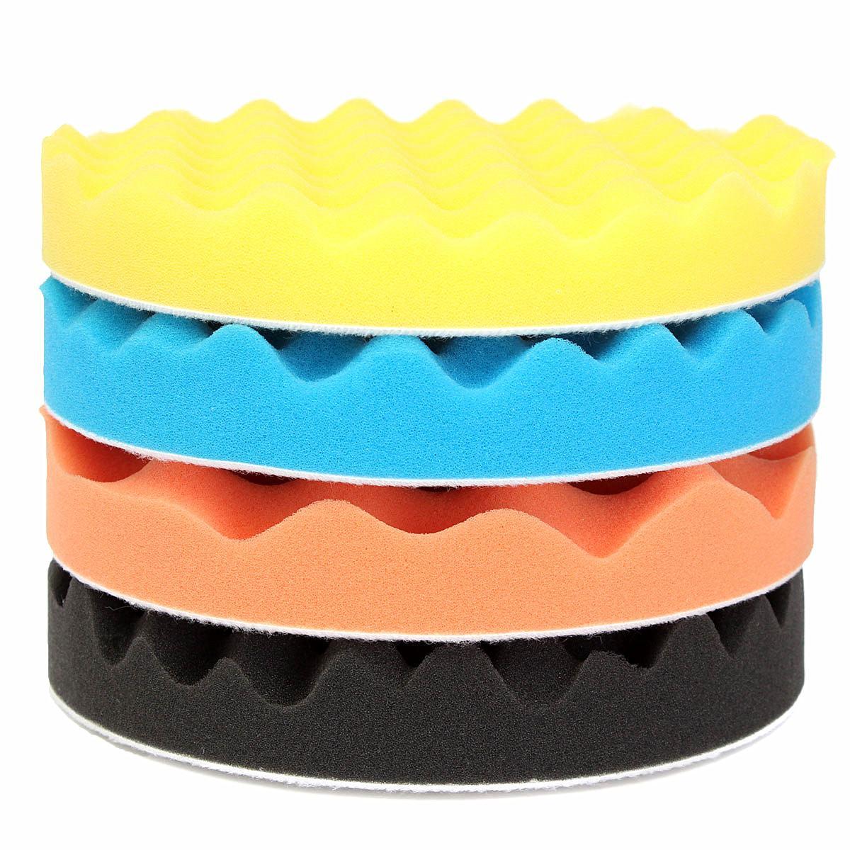 4Pcs 7''/180mm Sponge Polishing Buffer Pad Waffle Foam Tool Kit For Car Polisher