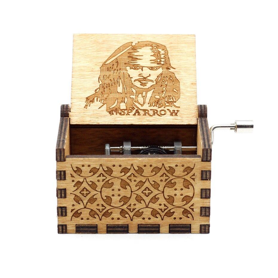 Деревянная музыкальная шкатулка с коленчатым коленом Красавица и Чудовище Звездные войны остров принцесса для Рождества с днем рождения подарок детям подарок - Цвет: Jack from pirates