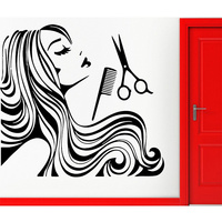 4 Size New Wall Sticker Hair Beauty Salon Vinyl Decal Girl Teen Barbershop Decor Removeable Wall decal Glass sticker Hot selling