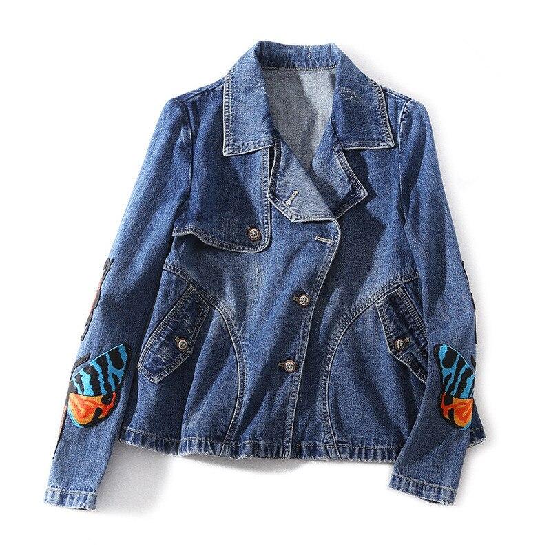 Mode femmes lâche Denim vestes nouveau 2019 printemps haute qualité brodé papillon vestes court manteau A070