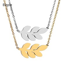 Eleple Simple Leaf Stainless Steel Necklaces Lady Fashion Decoration Clavicle Chain Party Gifts Jewelry Factory Wholesale S-N704