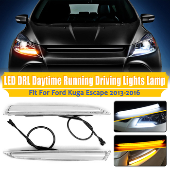 1Pair Dual White Amber Color Car LED Daytime Running Lights Turn Signal Lamp for Ford Kuga Escape 2013 2014 2015 2016