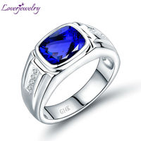 Luxury Tanzanite Men's Style Wedding Ring Solid 14K White Gold Shinning Diamond Genuine Gem Fine Jewelry for Father Birthday
