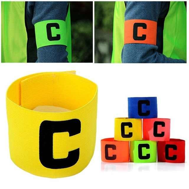 Jogador de Futebol capitão braçadeira Esportes Flexível Ajustável Bandas Fluorescente Capitão Armband 6 cores frete grátis