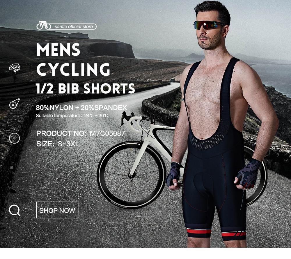 Santic Erkekler Bisiklet Yastıklı Önlük Şort Pro Fit Nefes - Bisiklet Sürmek - Fotoğraf 1
