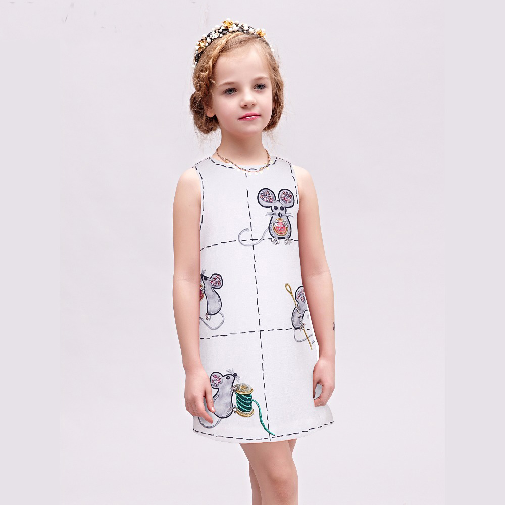 Princess Costume for Girls Dress 2017 Brand Cotton Kids Dresses Children Clothing Mouse Printed Robe Mariage