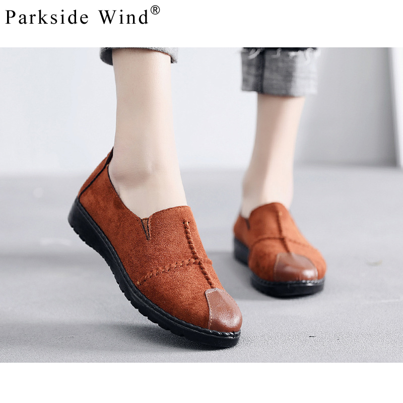 Parkside Wind Women Loafers Shoes Round Toe Oxford Sewing Woman Casual Shoes Soft Wide Slip-on Flats Shoes Platform XWA2019-45 dadawen boy s girl s slip on loafers oxford shoes