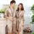 Amante de la Moda de Satén de Seda ropa de Dormir Las Mujeres Traje y Del Vestido Conjunto O Hombres Túnica De Verano