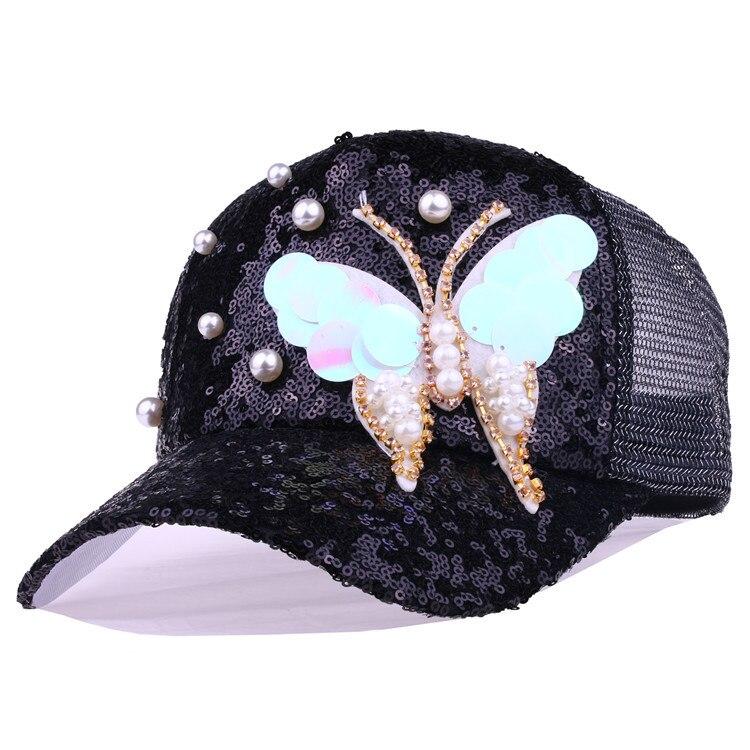 Sommer Einstellbar Schwarz Weiß Snapback Kappe Hut Mode Pailletten Strass Schmetterling Mit Perle Baseball Kappe Hut Frauen Im Freien