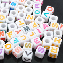 suoja 50pcs 7mm Mix Letter Beads Square Alphabet Beads Acrylic Beads DIY Jewelry Making For Bracelet Necklace Accessories suoja