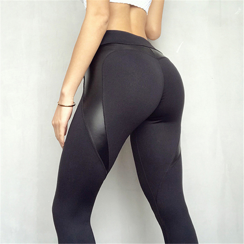 New Black Heart Shape Booty   Leggings   PU Leather Patchwork Skinny Long Pants Women Push Up Workout Sporting Athleisure   Leggings