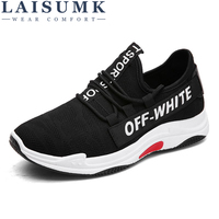 2018 LAISUMK Casual Men Shoes Summer Style Mesh Flats Lace Up Man Loafers Creepers Casual Shoes