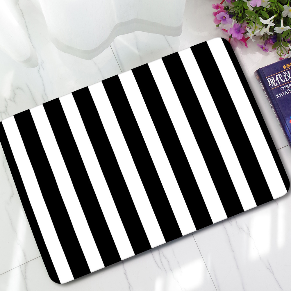 Us 19 45 Black White Vertical Bar Anti Slip Kitchen Mat Rugs Outdoor Entrance Indoor Welcome Home Funny Tapis De Cuisine Alfombra Cocina In Mat From
