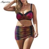 Bikini 2017 New Iridescence Printing Swimsuit Sexy Women High Waist Swiming Suit Halter Top Swimwear Plus