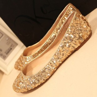 Women s shoes flat heel single shoes female bride wedding shoes gold sequin  plus size women s shoes 40 - 43 d81c6290f671