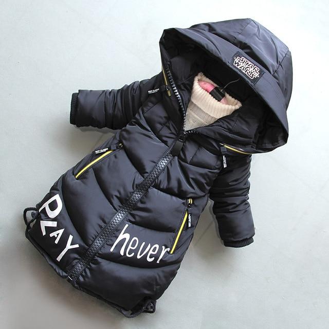 Rlyaeiz פעוט חורף מעילי תינוק בנות למטה מעיל ילדים מכתב מודפס סלעית אמצע ארוך מעיל עבה חם Parka מעיל