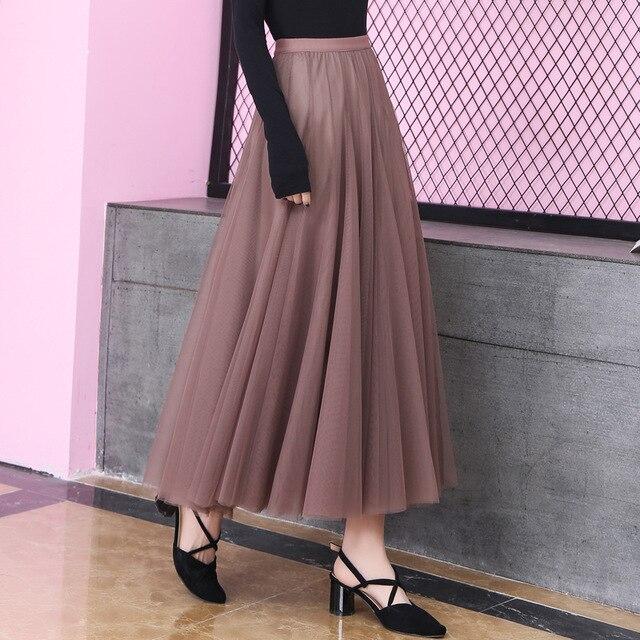 3160de91691713 2019 nouveau printemps automne femme Style coréen taille haute maille mi  mollet longue jupe plissée élégante Tulle Maxi Faldas