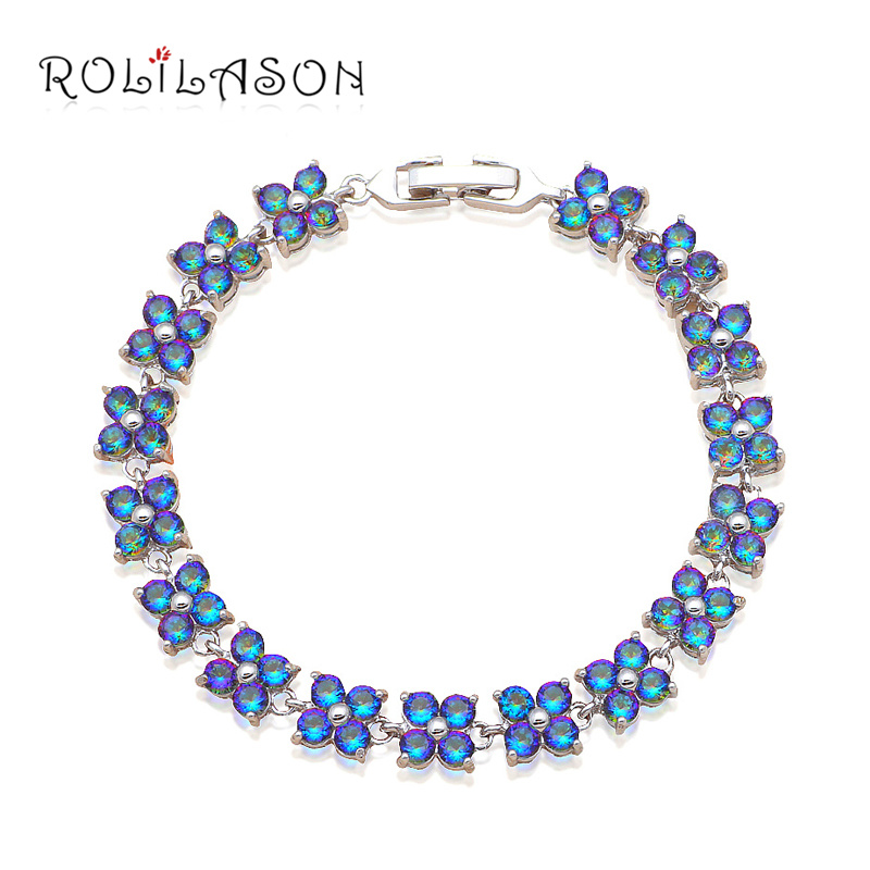 Graceful Bracelets for Ladies Delicate Flower Design Zircon Silver plated Party & Dinner Fashion jewelry TB902