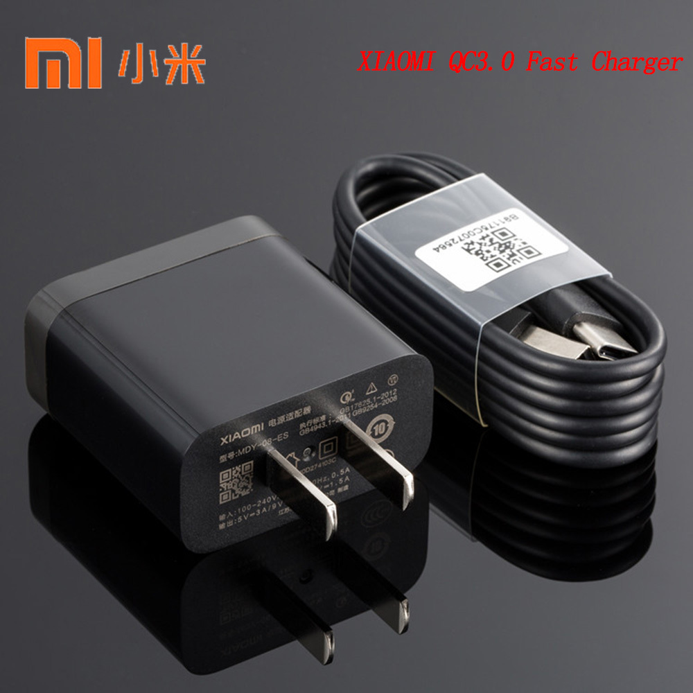 Original XIAOMI USB Fast Charger 12V/1.5A QC3.0 Travel Adapter 100CM TYPE C Cable For Mi F1 A1 A2 Lite 5 6 8 9 SE Redmi K20 Pro-in Mobile Phone Chargers from Cellphones & Telecommunications