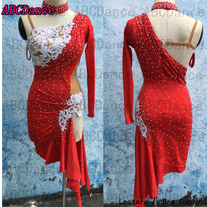 d636b6d86 Latin Dance Dress ballroom dancewear salsa dancing costume for competition dance  clothing long sleeves Latin lycra dress red