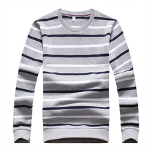 GUIXIANG 2017 Autumn new style men woolen sweaters casual knit stripe Men's fashion woolen sweater Free shipping