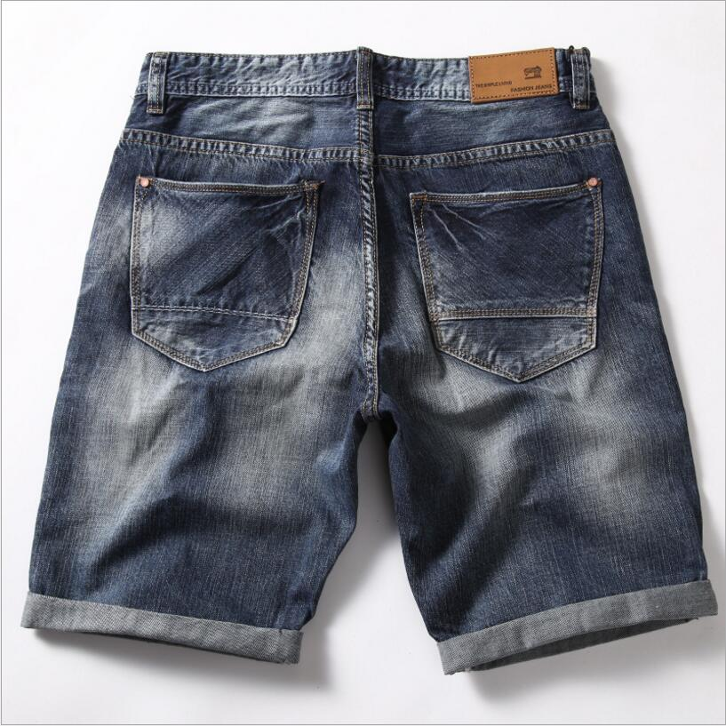 c5c76524e9 Good Quality Men's Flexible Denim Shorts Men Cotton Holes Short Jeans New  Fashion Male Knee Length Light Blue Short Jeans Size40-in Casual Shorts  from Men's ...