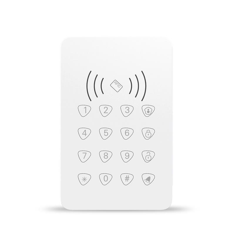 433MHZ RFID Touch keypad with RFID function /door bell function for wireless wifi gsm alarm system Arm/Disarm touch keypad wireless smoke fire detector for wireless for touch keypad panel wifi gsm home security burglar voice alarm system