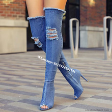 Runway Broken Hole Blue Black Denim Gladiator Sandals Women Peep Toe Stiletto Heels Thigh High Boots