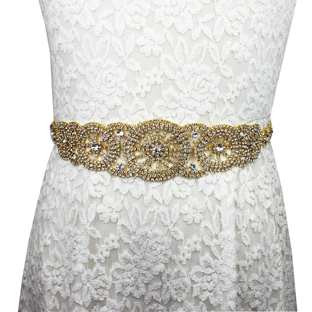 Elegant White Ribbon Shiny Gold Rhinestone Wedding Belt Bride Sash Evening Dress Sash Belts