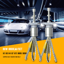 H7 LED Car styling Headlight H1 H3 H4 H11 9005 9006 5202 80W 9600LM white 6000K Auto Front Bulb Headlamp Car lighting