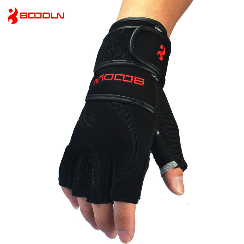 Genuine Leather Men s Half Finger Crossfit Gloves Non Slip Gym font b Fitness b font