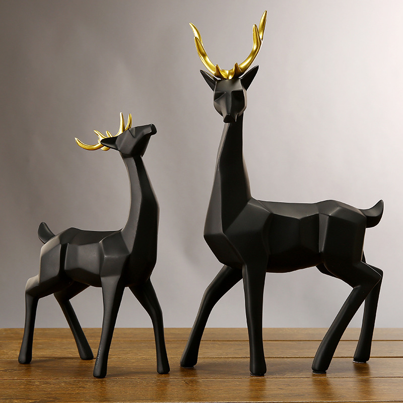 2Pcs/lot 43cm Modern Abstract Black White deer figures model Sculpture Geometric Resin elk Statue Crafts Ornament TV cabinet musician ludwig van beethoven western classical composer chill casting copper head sculpture colophony crafts decoration g1004