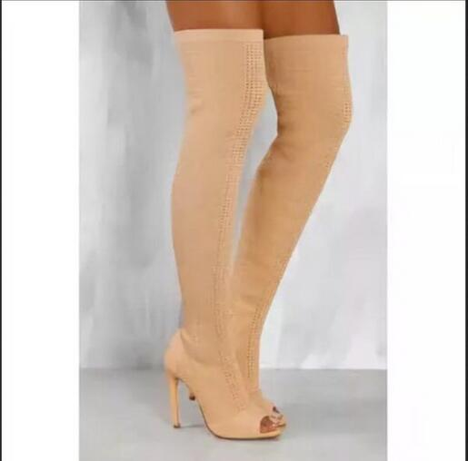 Nude Stretch Peep Toe Sock Booties Women Shoes Over The Knee Boots Cut Out High Heels Shoes Pumps Woman Botines Mujer women shoes scarpe donna elastic boots botines mujer sapato feminino round toe chaussure femme schoenen vrouw over knee boots