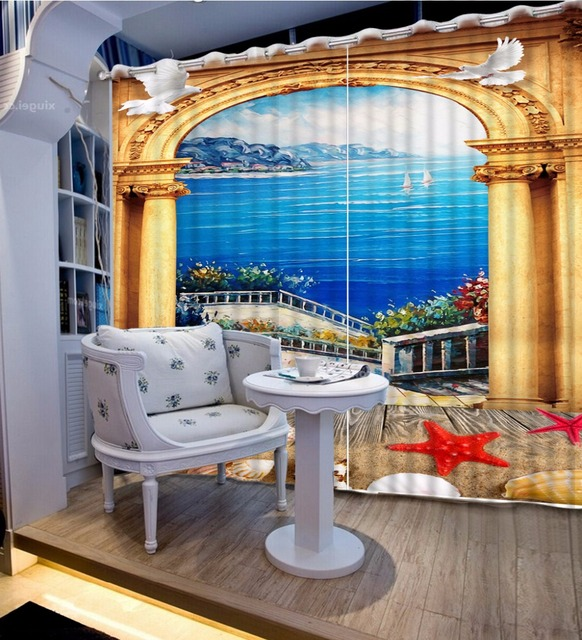 Luxury 3D Window Curtain For Living Room Bedroom Gold Roman Blackout Bedroom  Curtains 3D Love Sea