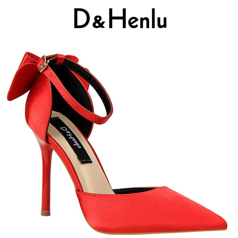 D&Henlu Bowtie Heels 2018 Plus Size Heels Women Shoes High Heels Sexy Woman Wedding Shoes Pumps Ladies Party Shoes Small Size 33 yeelves new women fashion thin high heels pumps yellow or black heels court shoes pumps for ladies girl party plus size bowtie