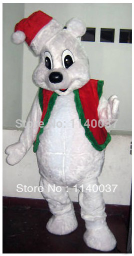 Mascotte De Noël Blanc Ours Costume De Mascotte Taille Adulte Peluche Mascotte Animale Costume Party Fancy Dress EMS LIBÈRENT LE BATEAU