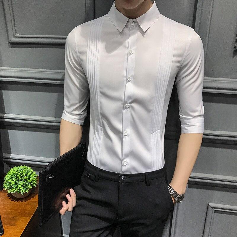 Dress Shirt men white Half Sleeve Slim Fit Business mens summer shirts casual slim fit Cotton