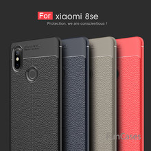For Xiaomi Mi8 Case Luxury Soft Shockproof Leather Grained TPU Back Cover Case For Xiaomi Mi 8 SE Carbon Fiber Protective Shell(China)